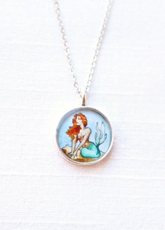 Little Mermaid - Necklace Art Pendant, Nautical Jewelry, Watercolor Illustration. $28.00 ... www.etsy.com/...