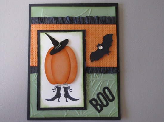 Boo!  Handmade Halloween Card from Stamping Madly using Stampin' Up! stamps.  Love the pumpkin witch!  www.stampingmadly...
