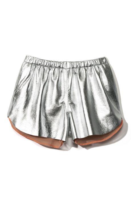 // Clover Canyon Metallic Silver Leather Short