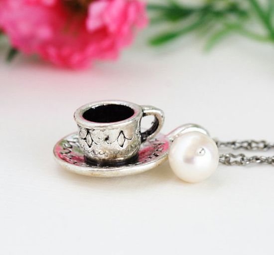 Silver Tea Cup Necklace Ivory Pearl Alice in by JacarandaDesigns