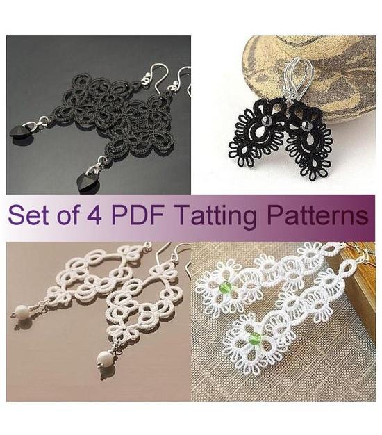 Set of 4 pdf Tatting Patterns  tatted lace by TattingPatterns