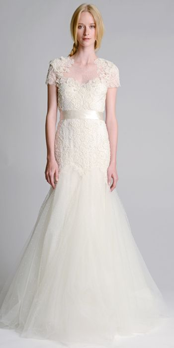 MARCHESA FALL 2014: Engineered re-embroidered lace gown with illusion dart pearl tulle detail skirt
