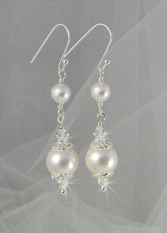 Swarovski white pearls with Swarovski clear bicones