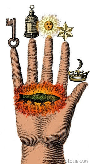Alchemical Symbols C004/6980 Rights Managed Caption: Alchemical symbols on The Hand of Philosophy, from 1667. A salamander surrounded by flames can be seen on the palm. At the time, salamanders were thought to have mystical properties. Alchemy was the pseudo-scientific predecessor of chemistry. Among other pursuits, alchemists searched for formulas that would turn base metals into gold.