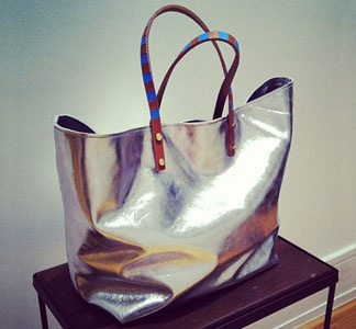 Silver metallic shopping bag-style tote