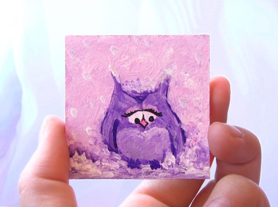 Oh.my.goodness. Potentially the cutest yet kinda saddest item I have ever laid my eyes on! A tiny original art acrylic painting on wood of little Purple Owl in Love. The size is 6 cm x 6 cm. Created and available at CraftUnikat's Etsy shop.