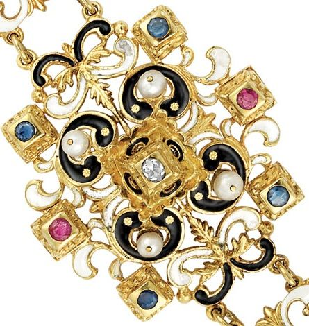 Detail: Victorian enamel, diamond, gem-set and pearl bracelet, circa 1880. Via Diamonds in the Library.