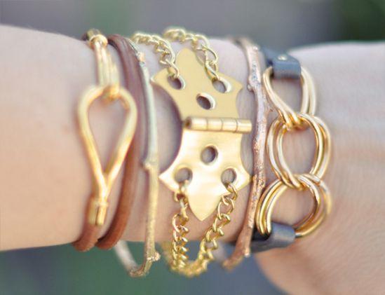 10 minutes DIY Bracelets, Unique Gold Hinge And Chain Bracelet