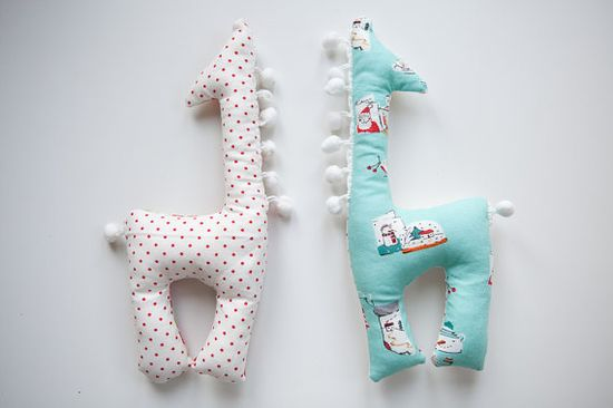 Christmas Stuffed Giraffe Baby Toy by bluesandbranches on Etsy, $12.00