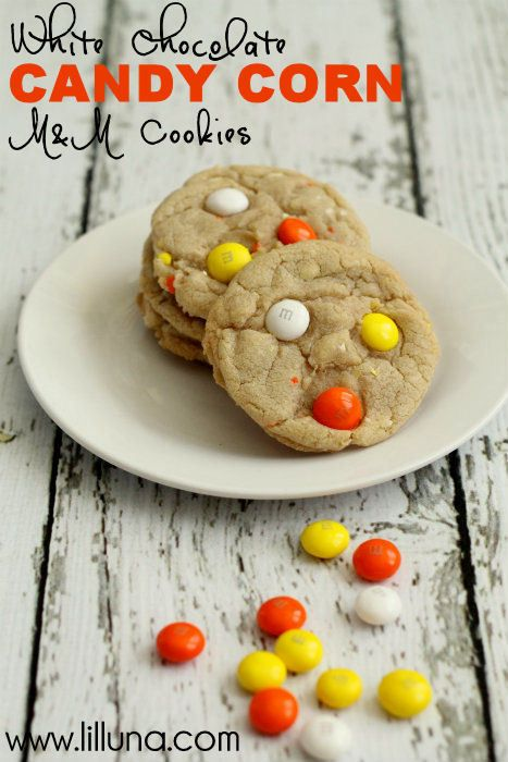White Chocolate Candy Corn M Cookies.