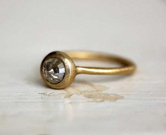 Rustic engagement ring. Ice grey rose cut diamond ring. Moon galaxy. Sparrow.. $985.00, via Etsy.