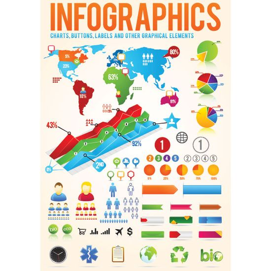 Vector Infographics Designer Kit 3d chart, pie char, labels, button and other info graphic design related source