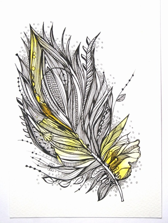 "Dawn Feather. 5""x7"" Original Artwork. Ink and Water Colors. $25.00, via Etsy."