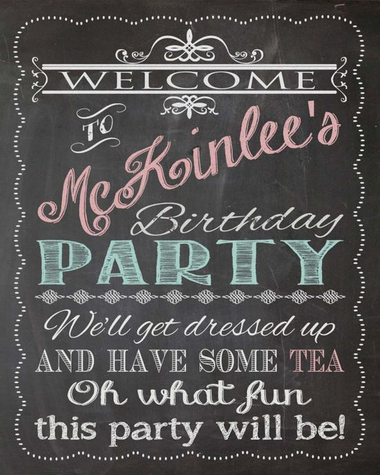 Shabby Chic Vintage Chalkboard Welcome Sign Tea Party Birthday Bridal or Baby Shower Wedding Digital