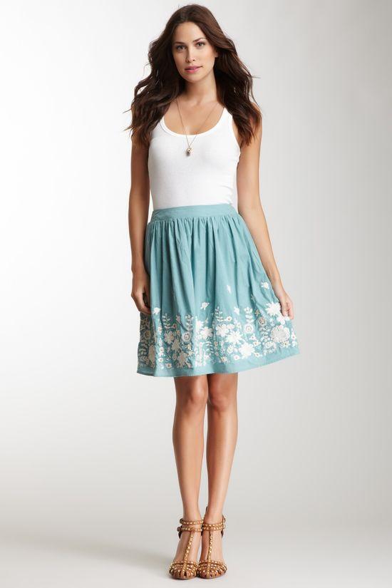Blue Tassel Embroidered Full Skirt