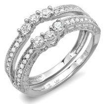 0.60 Carat (ctw) 14k White Gold Round Diamond Ladies Anniversary Wedding Band Enhancer Guard Ring