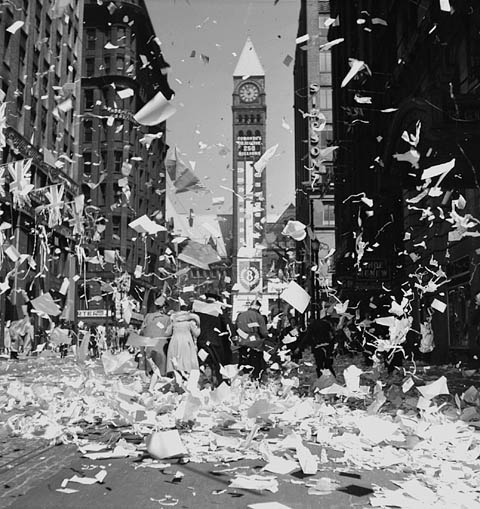 Victory in Europe Day (VE Day) celebrations in Toronto, Canada, May 1945. #Canada #vintage #1940s #WW2