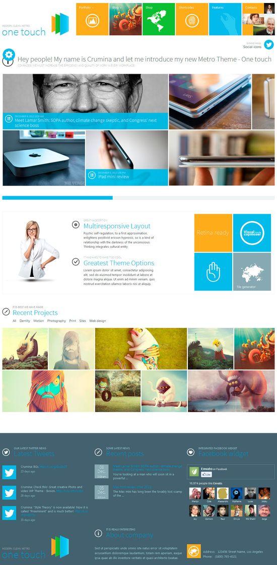 One Touch - Multifunctional Metro Stylish Theme themeforest.net/... #wordpress #web #design #theme