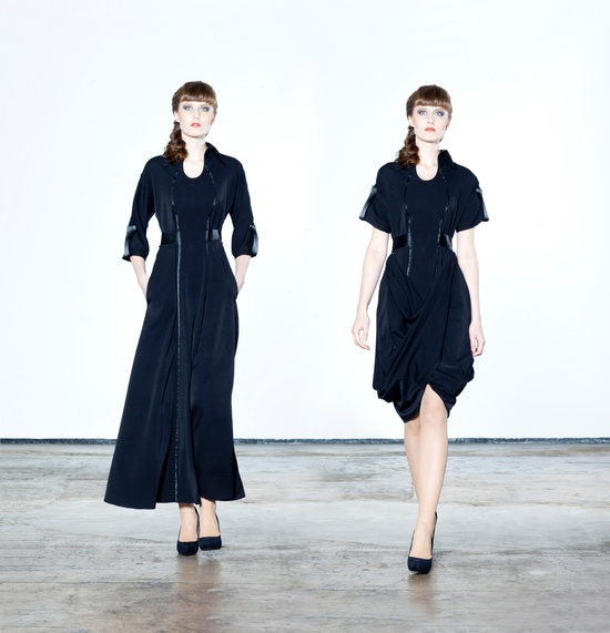 One dress that can be long or short, with adjustable sleeves, from Jolier.