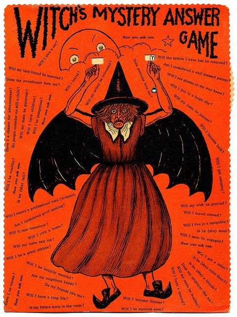 "Vintage Halloween game by Beistle Co. The witch design was also sold as an articulated diecut, marketed as ""The Horrible Witch""."
