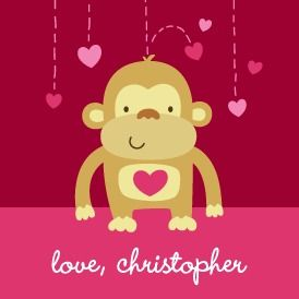 Baby Monkey - Valentine's Day Gift Tag Stickers - Nancy Kubo - Begonia - Pink : Front