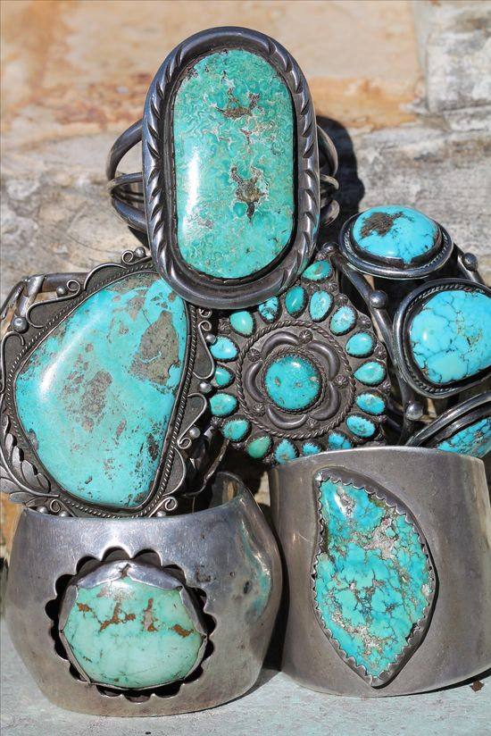 Turquoise tower of cuff bracelets