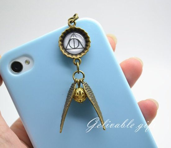 Harry Potter iPhone 5 4S 4 charm,3.5mm dust proof plug with golden snitch and Deathly Hallows charms,fit for samsung Blackberry HTC on Etsy, $3.99