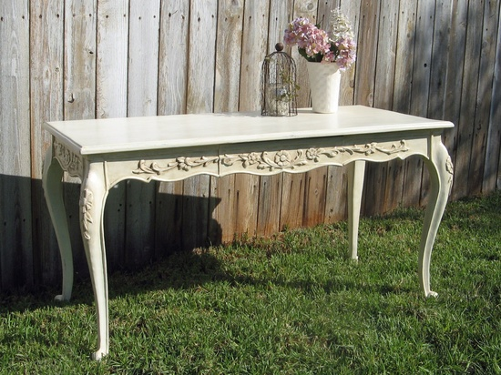 Beautiful wood carved desk painted with ASCP Old White, clear and dark wax