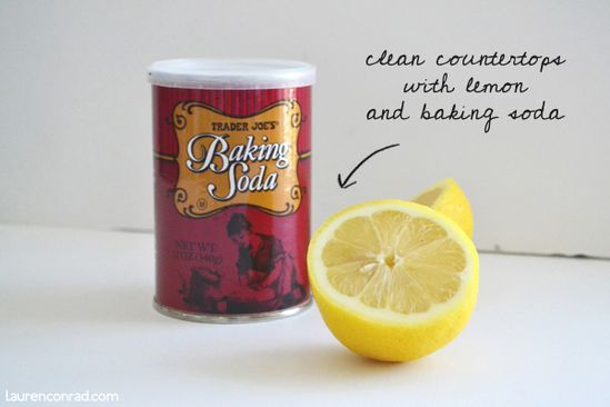 DIY green cleaning: clean counter tops with lemon and baking soda