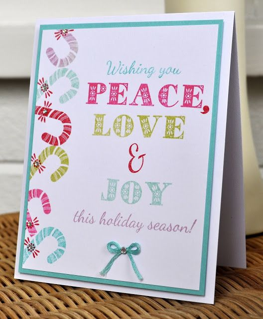 Papertrey Ink, Peace Love and Joy Christmas card.