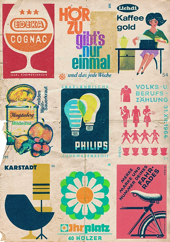 A little collage I made from vintage german matchbox labels found on Flickr - here: www.flickr.com/...