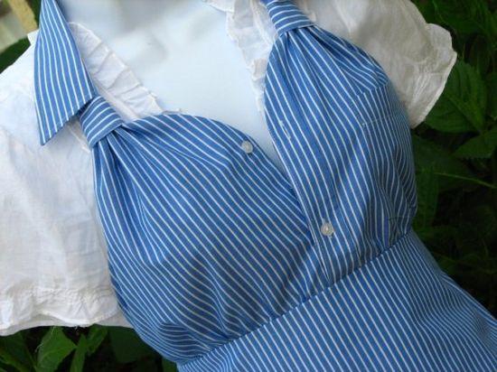 Upcycled men's shirt apron