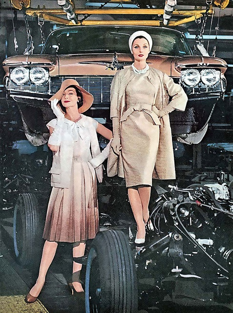 If you thought your mechanic was under dressed before! :D #1960s #sixties #fashion #models #ad #clothing #retro #vintage