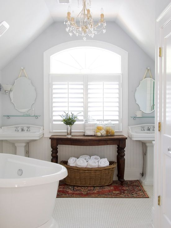 Bathroom interior design shutters really compliment the nice clean lines.
