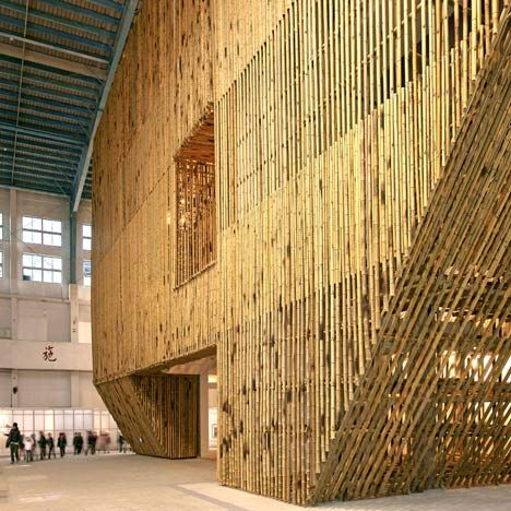 New York architect Stan Allen constructed this pavilion of bamboo scaffolding at a former airport in Taichung, Taiwan.