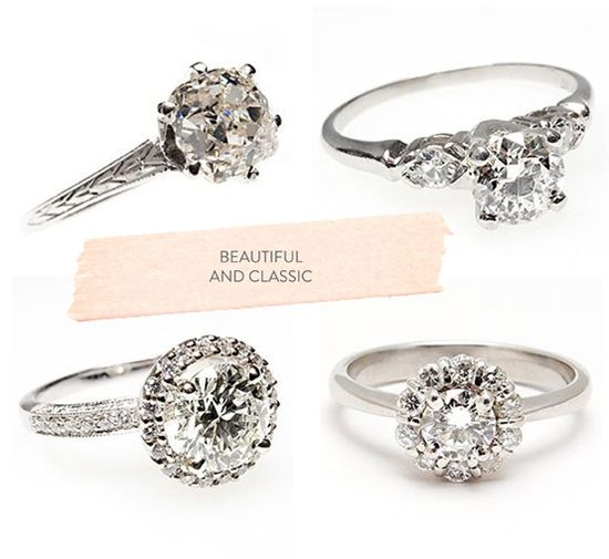 Vintage engagment rings. I would love either of the bottom two in gold!