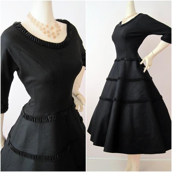 50s Wool Felt with Ruffled Satin Trim Dress M