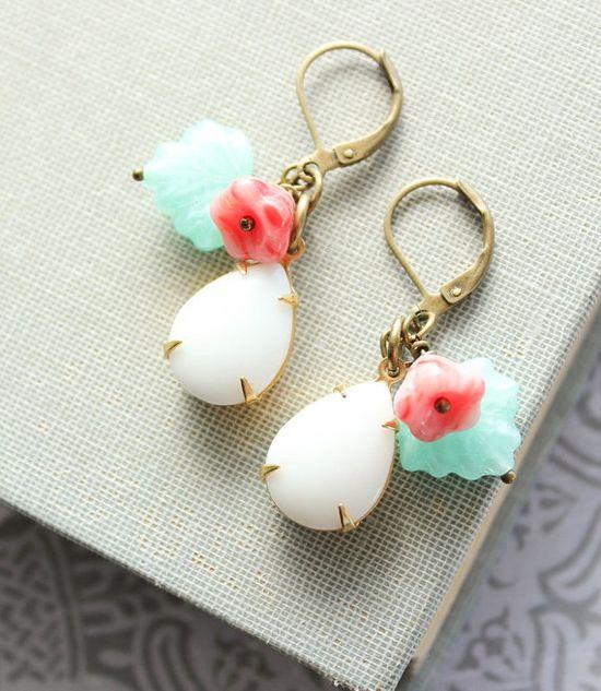 White Glass Earrings Opaque White Vintage by apocketofposies