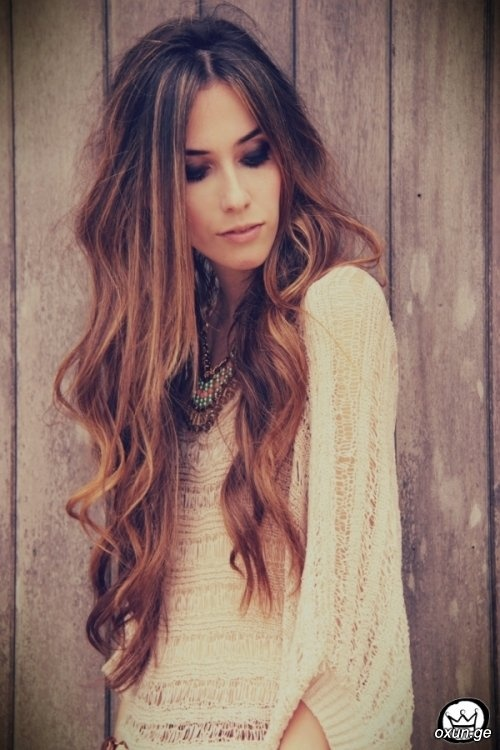Long wavy curl and straight dyed balayage hair style, gorgeous! #fashion