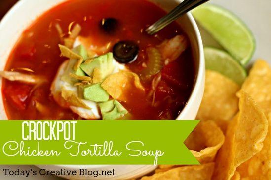 Crockpot Chicken tortilla Soup - Today's Creative Blog.net #Crockpot
