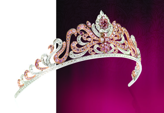 The Pink Argyle Diamond Tiara. The crowning pink diamond converts to a pear shaped ring.