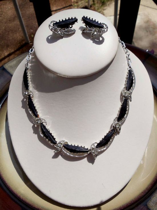 Vintage onyx rhinestone silver necklace by PaganCellarJewelry, $18.99