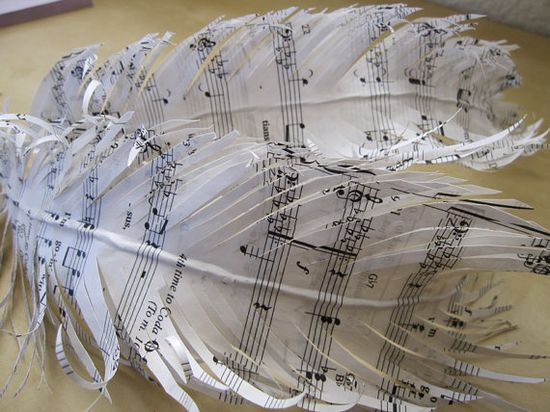 Gift feathersMusic paper feathers handmade music paper by jbart, $30.00