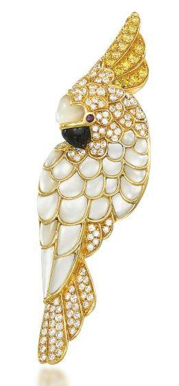 A COLOURED DIAMOND, DIAMOND AND GEM-SET BROOCH, BY TIFFANY & CO.
