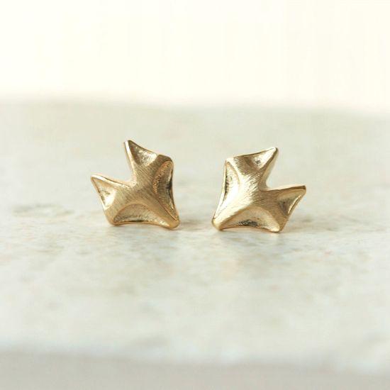 Fox earrings in gold. via Etsy.
