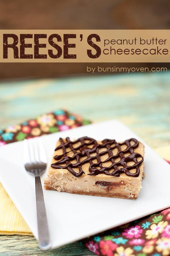 Reese's Peanut Butter Cup Cheesecake #recipe by bunsinmyoven.com