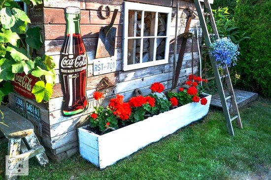 Rustic garden shed via Funky Junk Interiors - from reclaimed wood and junk - old crate flowerbox