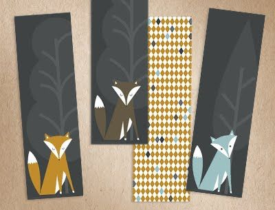 Sweet printable fox bookmarks by Sharon Rowan, via How About Orange.