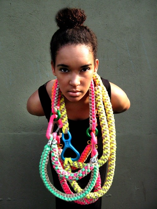 Fern Jellyman neckpieces Cotton & poyester yarn, anodised aluminium climbing components