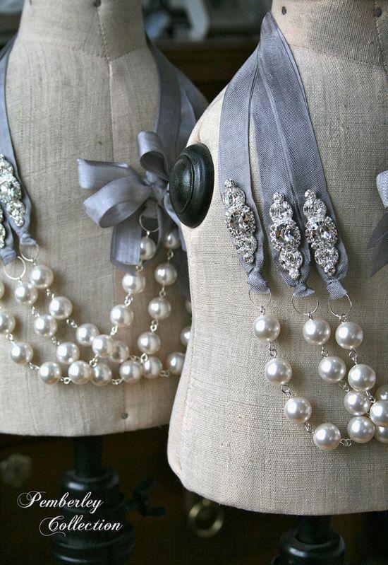 Pearl and Ribbon Necklace, Swarovski, Rhinestone, Wedding Jewelry